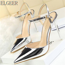 Women's sandals simple fine with high with shallow mouth pointed patent leather sexy nightclub was thin word female sandals free shipping stylish and elegant high heeled shoes of fine silk surface shallow mouth pointed diamond pearl word strap sandals