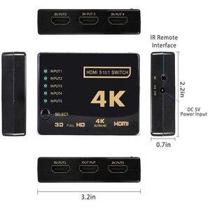 Image 5 - Convertisseur HDMI 4K HD 5 commutateur 1 sortie HDMI connecteur Audio séparateur pour tv HD numérique pour récepteur Audio vidéo PS3 noir