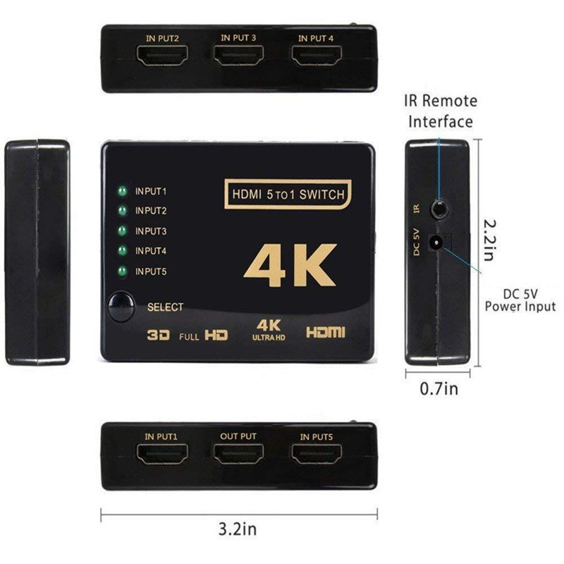 Image 5 - HDMI 4K HD convertidor 5 corte 1 interruptor HDMI Splitter conector de Audio Digital HDTV para PS3 Audio Video receptor negro on AliExpress