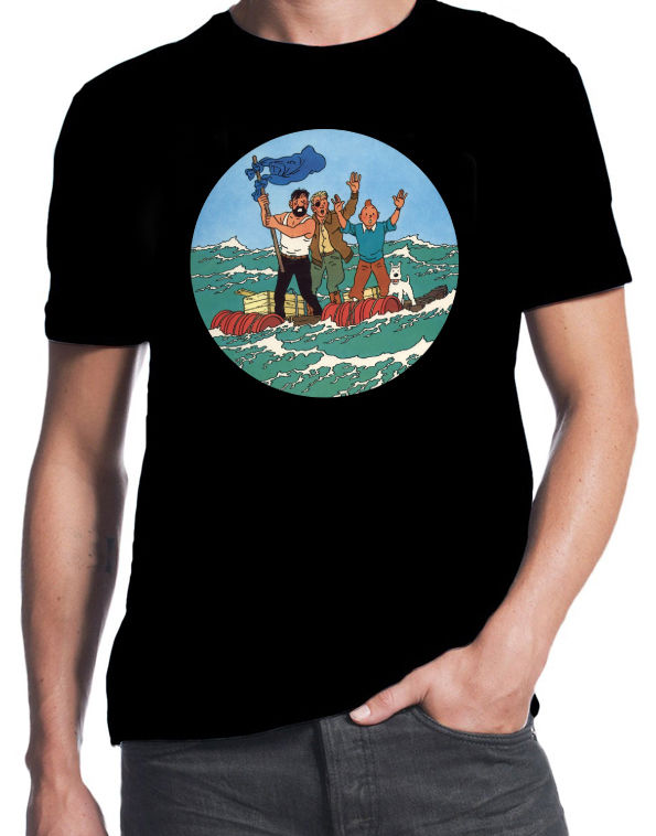 Tintin And Red Sea Sharks Classic Retro Adventure Funny Comic Book Black T-Shirt