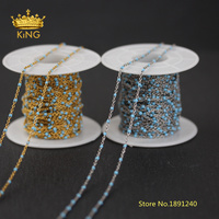 5meters Enamel Dot Chains Craft Jewelry Making,2mm Sky Blue Enamel Beaded Chains Wire Wrapped Stainless Steel Rosary Chain HX194