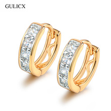 GULICX Fashion Small Earrings Womens Gold color Hollow Hoop Earrings For Women Luxury White Crystal Zirconia