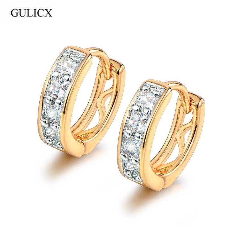 GULICX Fashion Small Earrings Womens Gold color Hollow Hoop Earrings For Women font b Luxury b