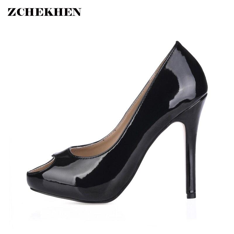 Open Toe Women High Heels 11CM Heel Height Sandals Shoes Women Big Size 35-43 Summer Causal Patent Leather Solid Black