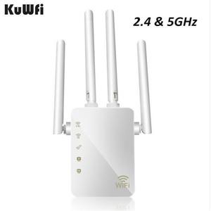 Image 1 - KuWFi 1200Mbps واي فاي مكرر مع 4 هوائيات خارجية ، 2 رواتر إنترنت ، 2.4 و 5GHz المزدوج الفرقة إشارة الداعم التغطية الكاملة واي فاي
