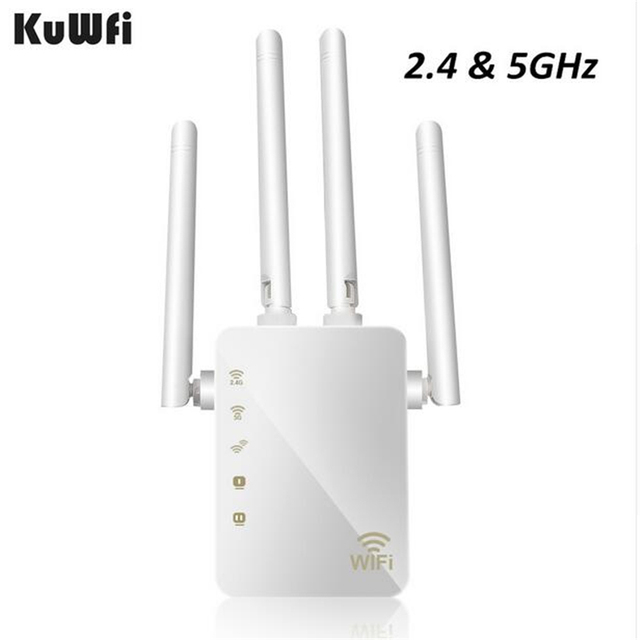 KuWFi 1200Mbps واي فاي مكرر مع 4 هوائيات خارجية ، 2 رواتر إنترنت ، 2.4 و 5GHz المزدوج الفرقة إشارة الداعم التغطية الكاملة واي فاي