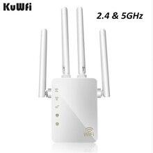 Kuwfi 1200mbps wifi repetidor com 4 antenas externas, 2 portas ethernet, 2.4 & 5ghz dupla faixa impulsionador de sinal cobertura completa wi fi
