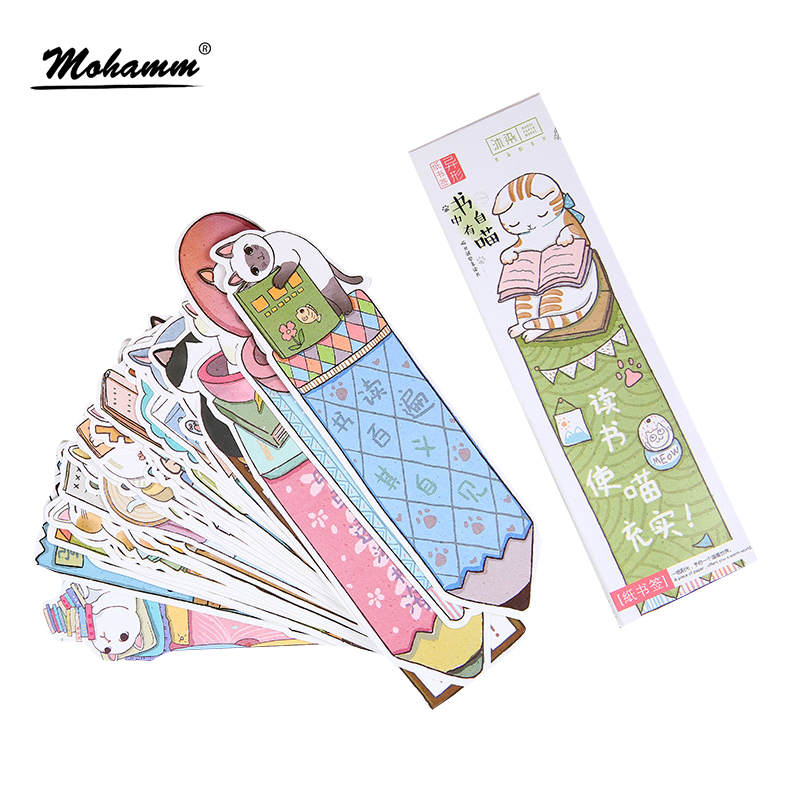 цена на 30 pcs/lot Cute Funny Cat Shaped Paper Bookmark Gift Stationery Film Bookmarks Book Holder Message Card School Supplies