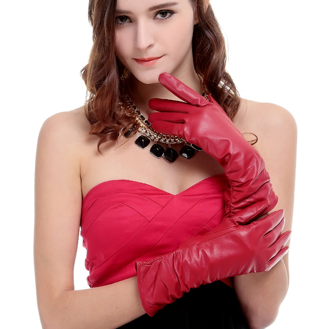 KURSHEUEL Luxury Winter Women Long Leather Gloves High Quality Evening Party Genuine Leather Warm Driving Glove Female Mittens 2
