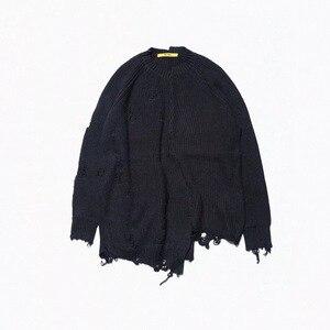 Image 5 - סתיו חורף גברים ripped חור גדולים טלאים סרוג סוודר סדיר עיצוב היפ הופ פאנק סריגי נשים בציר סוודר