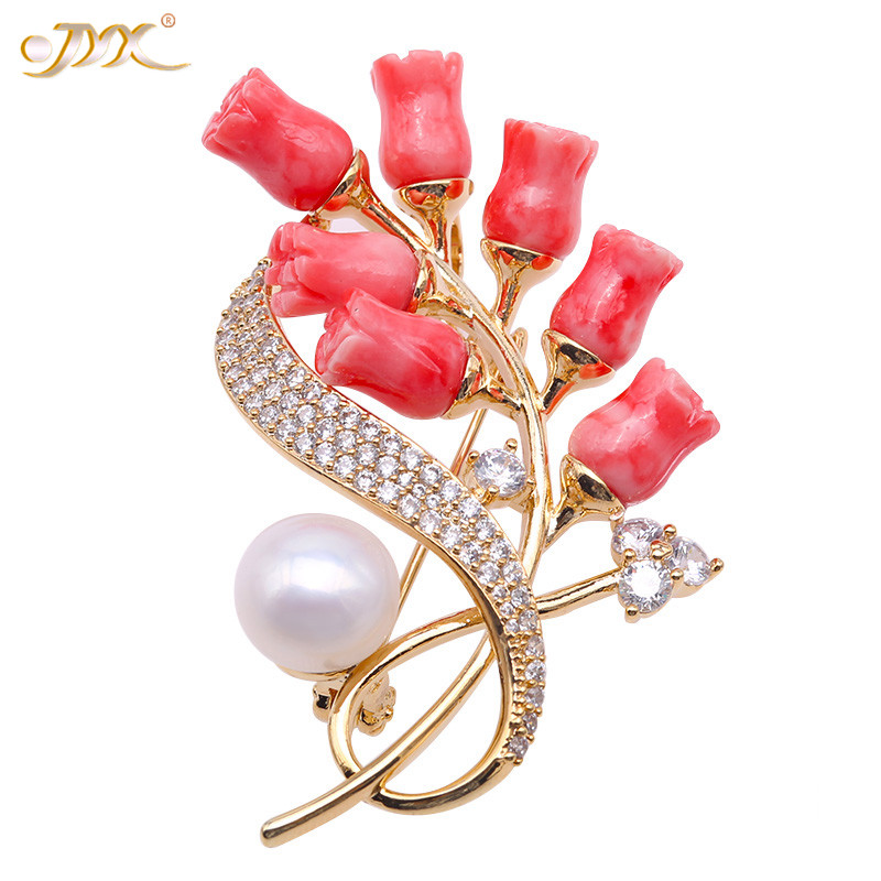 JYX Fine Coral Brooch Pins Delicate Zircon-inlaid 10.0mm Freshwater Pearl Brooch Pins ( Coral Pendant)JYX Fine Coral Brooch Pins Delicate Zircon-inlaid 10.0mm Freshwater Pearl Brooch Pins ( Coral Pendant)