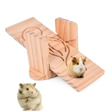 Small Pet Animal Pine Seesaw for Hamster / Chinchillas / Guinea Pigs Funny Toys Play Toys Chew Toy Small Animal Playground