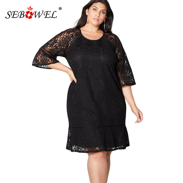 SEBOWEL Plus Size Sexy Black Lace Hollow Out Party Midi Dress Women Elegant  Three Quarter Sleeve Crochet Lace Overlay Dress 5XL 40983c5c544a