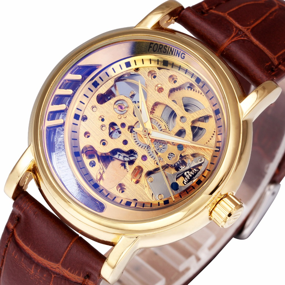 Top Brand Luxury Skeleton Golden Unisex Men Women Watches Leather Strap Blue-ray Mirror FORSINING Auto Mechanical Wristwatches