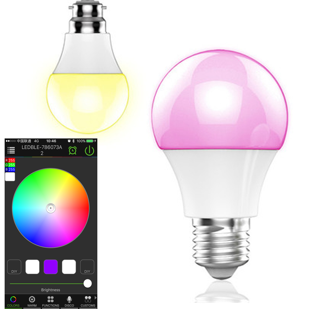 led bulb 4.5W Bluetooth light bulb smart home bulb light Wireless control RGB color LED lights music Adjust brightness color smart bulb e27 led rgb light wireless music led lamp bluetooth color changing bulb app control android ios smartphone