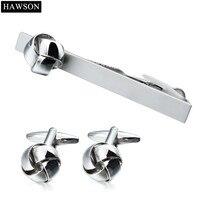 HAWSON Jewelry Twist Nút Liên Kết Cuff và Tie Clip Đặt Cho Nam Giới Vòng Kim Loại New Mens Khuy Măng Sét Tie Bar