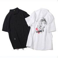 Summer Punk Mens Shirts Streetwear Daily Funny Tops Black White Turn Down Collar Shirts Single Breasted