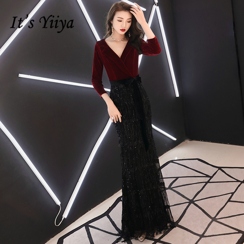 Evening Dresses Obliging Its Yiiya Evening Dress Wine Red Black Pacthwork Formal Trumpet Dresses V-neck Shining Hems Long Party Gown E036 To Rank First Among Similar Products