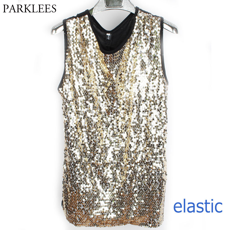 Shiny Gold Sequin Glitter Embellished Tank Tops Men Nightclub Stage Perform Dance Sleeveless Vest Mens Hip Hop Elastic Tee Shirt