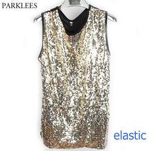 73bfe5245d0624 Shiny Gold Sequin Glitter Embellished Tank Tops Men Nightclub Stage Perform  Dance Sleeveless Vest Mens Hip