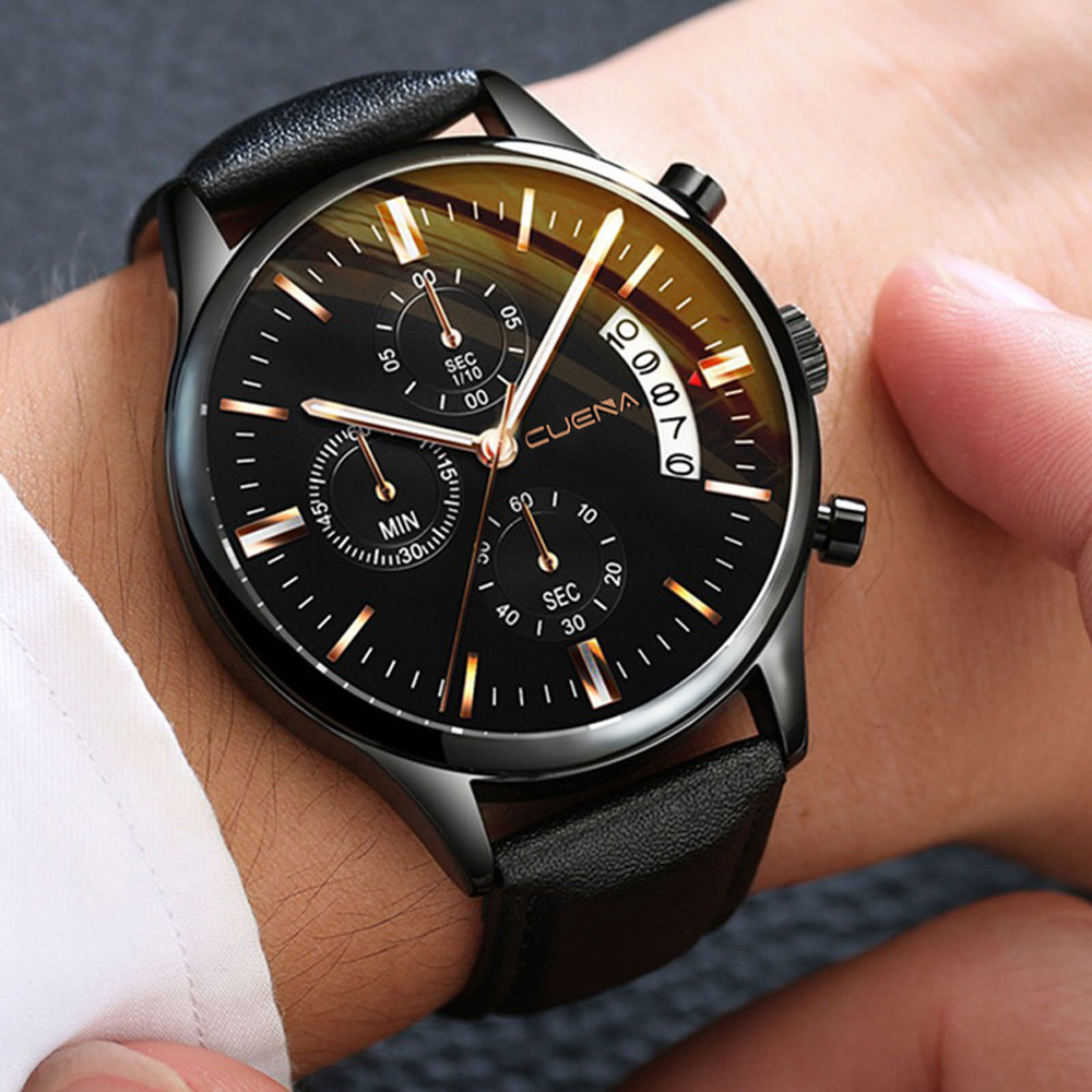 CUENA Men Wrist Watch Sport Stainless Steel Case Leather Band Quartz Analog Man Watches Men Watches Quartzo Day Date Watch Male
