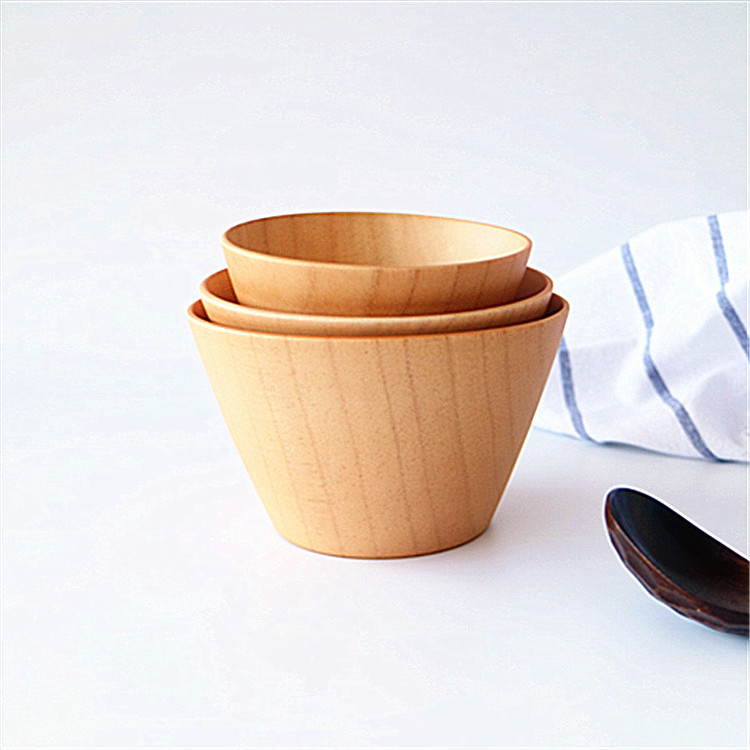Trapezoidal bowl Handcraft Bowl for Rice, Soup, Dip, Decoration (Middle) Natural Wood Round Salad Bowl Kitchen Wild jujube wood