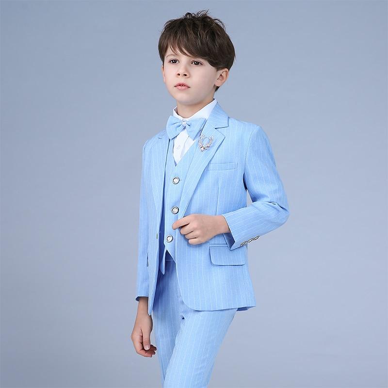 Boys Formal Suit Single Breasted Solid New School Sky Blue Kids stripe Wedding Suit jogging costume garcon Wedding dress ruffle hem single breasted dress