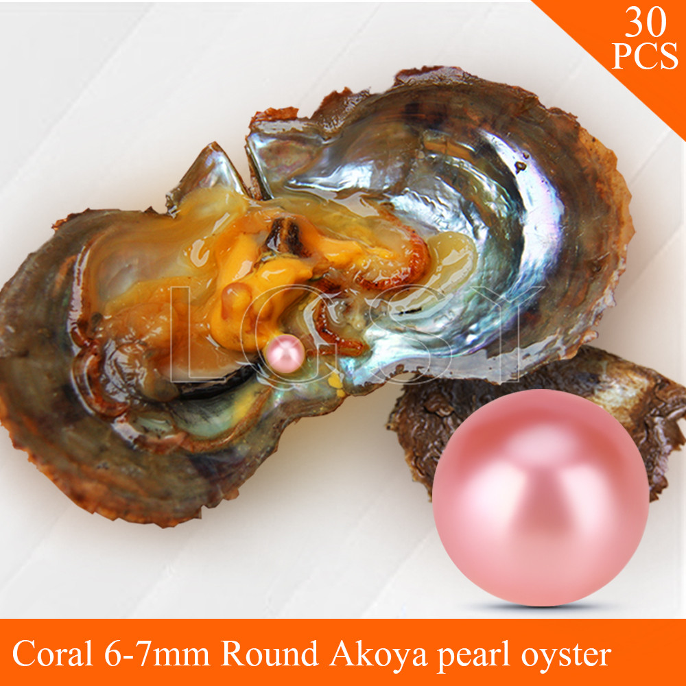 Bead wholesale Coral color pearls 30pcs vacuum-packed oysters with 6-7mm round akoya pearls , UPS free shipping cluci free shipping get 40 pearls from 20pcs 6 7mm aaa blue round akoya oysters twins pearls in one oysters