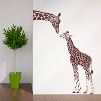 N194 GIRAFFE AND BABY GIRAFFE Wall Sticker Animals Vinyl Wall Art Nursery Girl Wall Sticker Wall