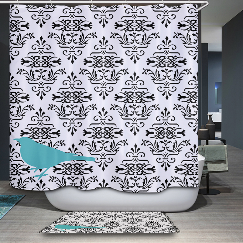 New arrival Nordic rural Simple modern Geometry Pattern Customized Shower Curtain Waterproof Bathroom Fabric Shower Curtain