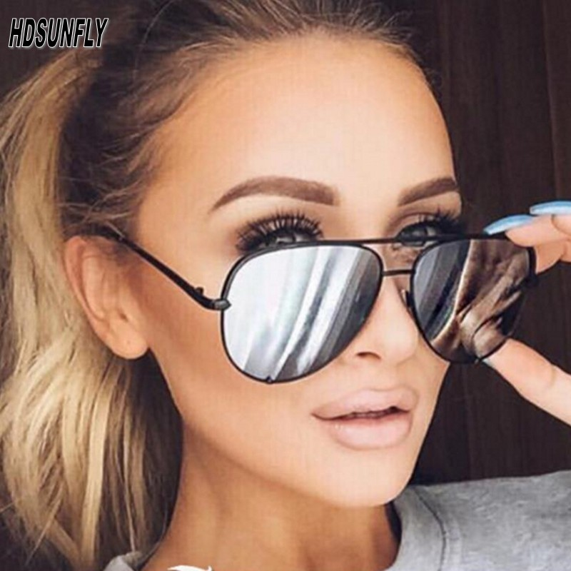 HDSUNFLY Fashion Aviation Sunglasses Women Men Driving Eyewear Black Frame Male Female Mirrors Coating Sun Glasses UV400