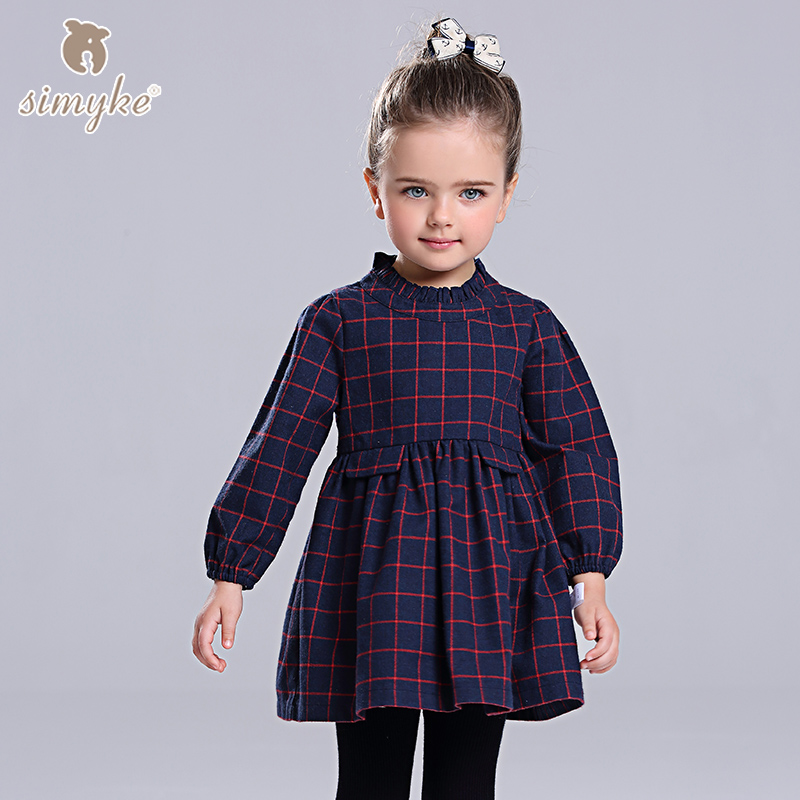 цена на Simyke Girls Autumn Plaid Dress With Long Sleeve 2017 New Children's Dress For Girl Toddler Girls Clothing Kids Clothes D8218