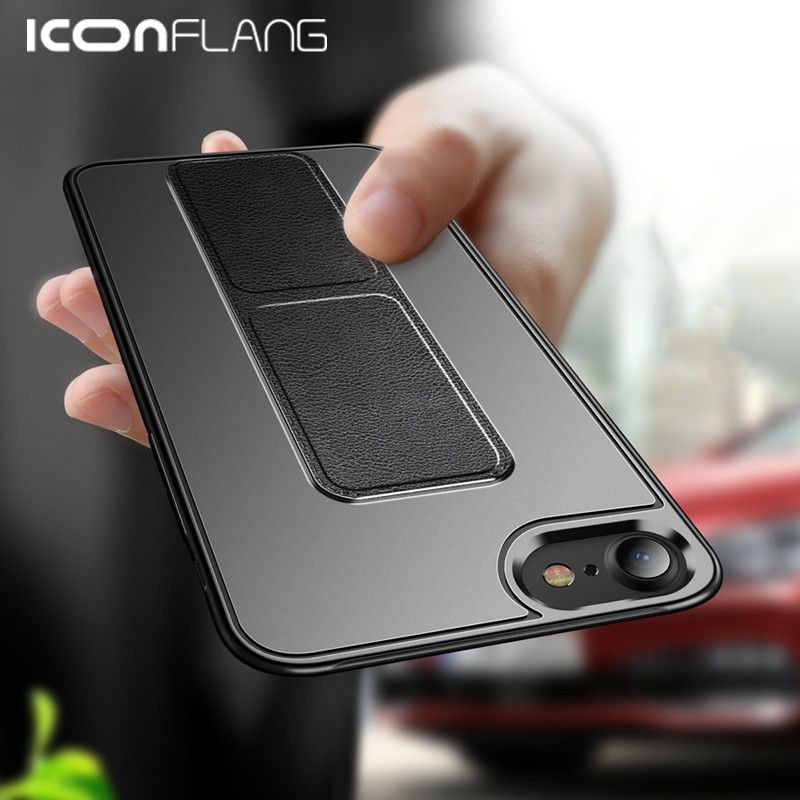 for <font><b>iPhone</b></font> 11 XS Max X XR <font><b>8</b></font> 7 6 6s plus <font><b>case</b></font> leather bracket slim ultrathin <font><b>case</b></font> ring grip holder stand <font><b>magnetic</b></font> for car mount image