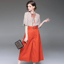 Chiffon print blouse and cotton wide-leg ankle-length pants 2 piece suits 2018 new runway women spring summer