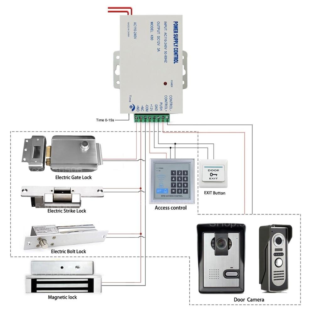 NC Electric Magnetic Door Lock Power Supply box for Door Access Control System Video doorbell Door nc electric magnetic door lock power supply box for door access