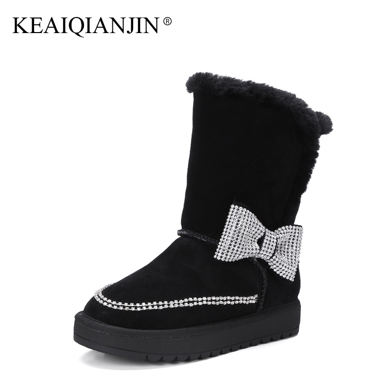 KEAIQIANJIN Woman Fur Snow Boots Butterfly Shearling Crystal Winter Genuine Leather Shoes Platform Black Diamonds High Boots keaiqianjin woman studded snow boots pink black winter genuine leather flat shoes flower platform fur crystal ankle boot 2017