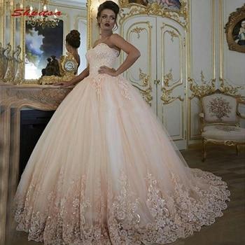 cedf5b25508 Encaje de color rosa vestidos Quinceanera vestido de tul baile de Debutante  16 dulces 16 vestido vestidos de 15 años
