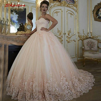 Pink Lace Quinceanera Dresses Ball Gown Tulle Prom Debutante Sixteen Sweet 16 Dress vestidos de 15 anos