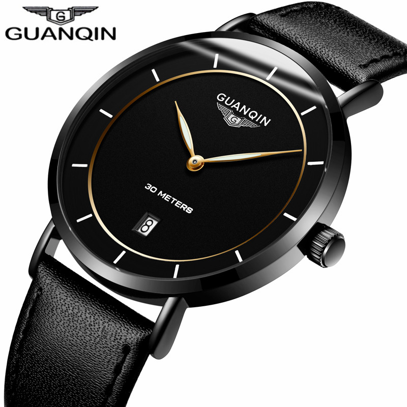 relogio masculino GUANQIN Watches Men Ultra Thin Luminous Hands Clock Men's Fashion Casual Leather Strap Waterproof Quartz Watch