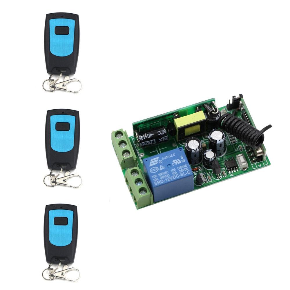 AC 85V 110V 220V 250V RF 1 CH Wide Voltage Wireless Remote Control Switch System Receiver & 3 Transmitter Waterproof Hot Sale dc24v 8ch rf wireless remote control switch 8 receiver