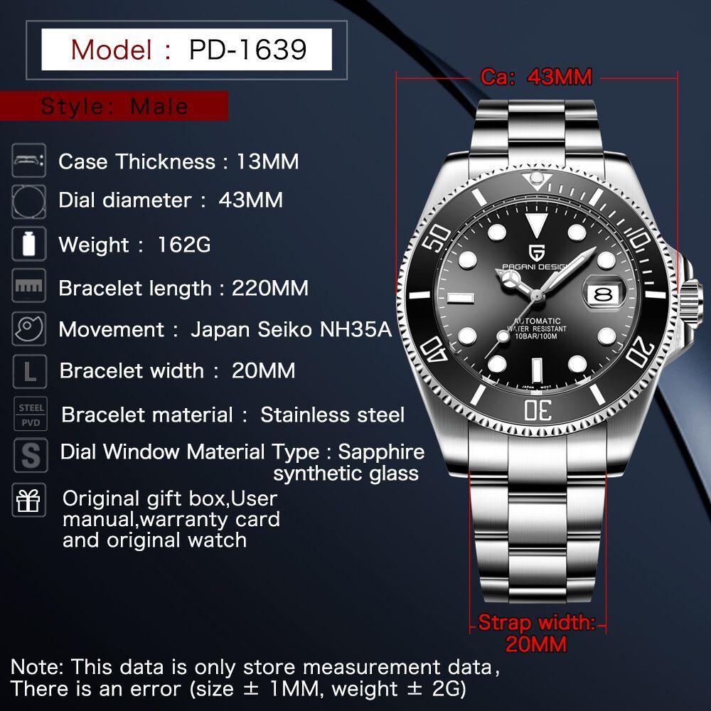 42 мм Corgeut/стерильный циферблат/Часы с сапфировым стеклом черный циферблат автоматические механические мужские наручные часы - 2