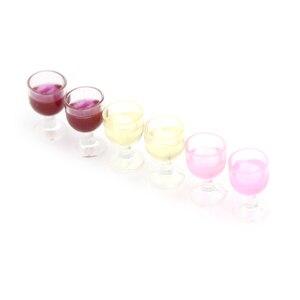 Image 3 - 2Pcs Mini Rotwein Tasse Simulation Möbel Wein Glas Becher für Puppe Haus Dekoration 1/12 Puppenhaus Miniatur Zubehör