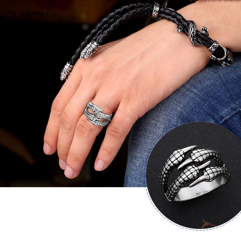 Fashion Stainless Steel Biker Men Rings Vintage Gothic Jewelry Antique Silver Dragon Claw Ring Men Jewelry Punk Rock