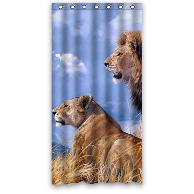 36 x 72 Waterproof Bathroom Fabric Shower Curtain Lion Couple Art ...