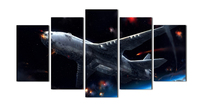5 Piece Wall Art Painting space Plane Fighter Take Off In Storm Night Print On Canvas The Picture Military Pictures art