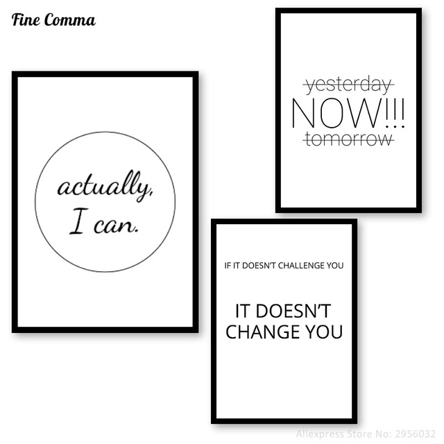 Yesterday Now Tomorrow I Can Challenge Change Yoga Print Motivational Quotes Posters Minimalist Typography Wall Decor