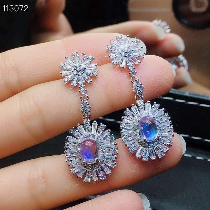 MeiBaPJ Natural Moonstone Gemstone Luxurious Flower Drop Earrings Real 925 Sterling Silver Fine Charm Jewelry