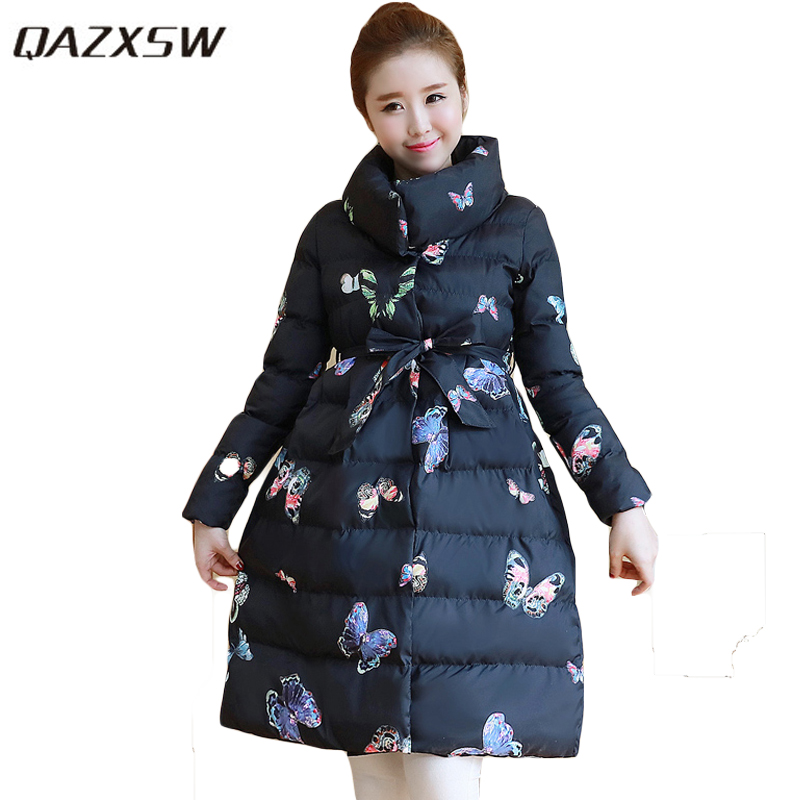 QAZXSW New Woman Winter Jackets For Women Warm Outwear Stand Collar Butterfly Jacket Parkas Long Cotton Coat Abrigos Mujer HB102 qazxsw new winter cotton coat hooded padded women parkas mujer invierno 2017 winter jacket women warm casacos femininos hb221