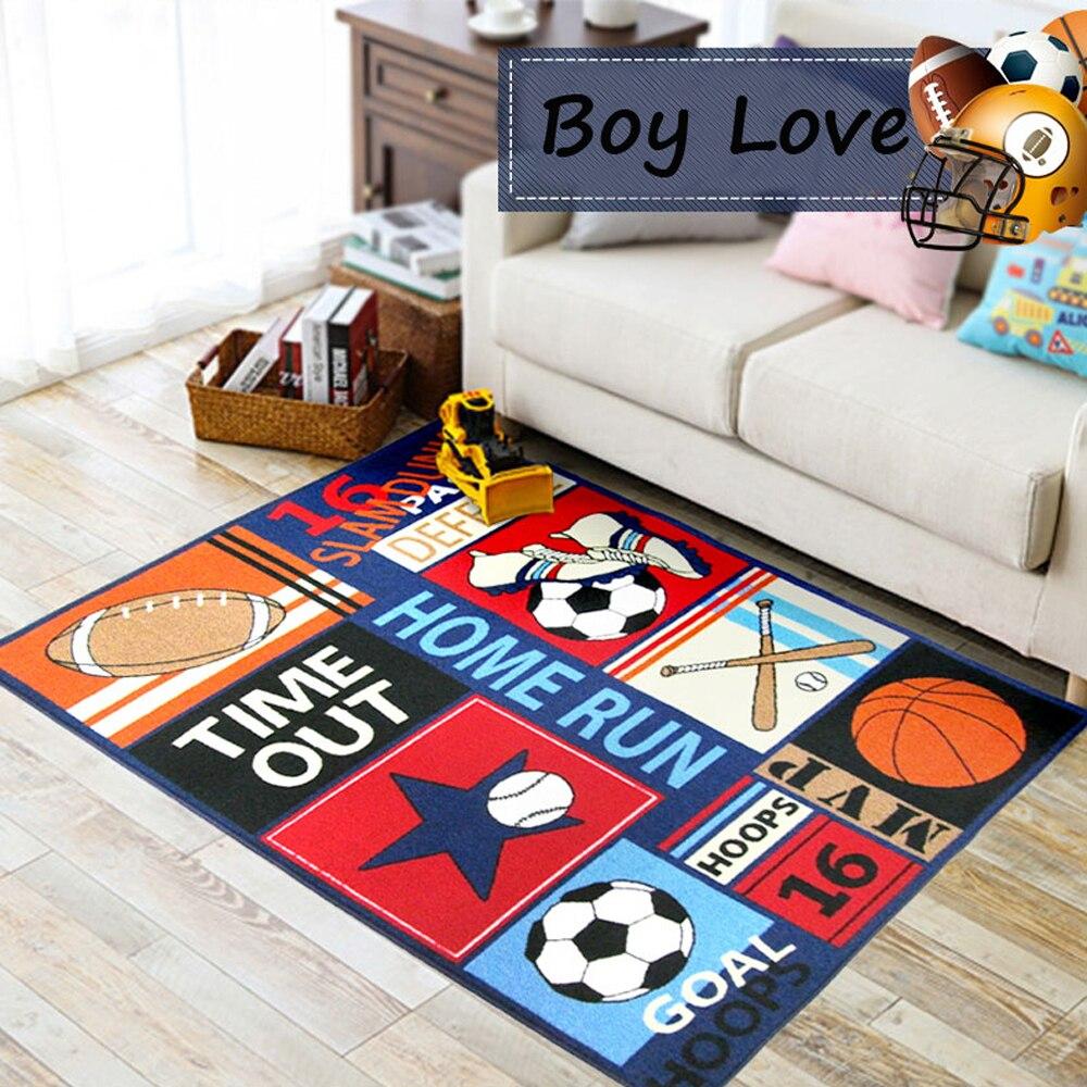 Gummi Zuruck Fussballplatz Baseball Basketball Carpet Und Teppiche Fur Jungen Zimmer Teppich Waschbar Non Skid Wohnzimmer In