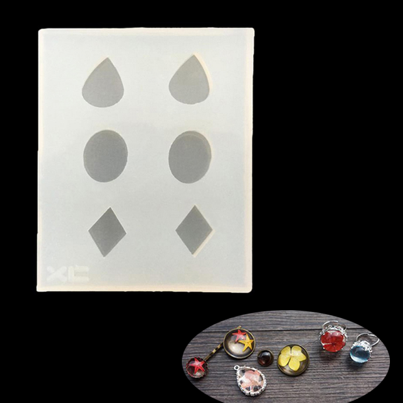 Rhombus Round Water Drop Shaped Crystal Pendant Beads Casting Molds Silicone Resin Liquid Mold DIY Jewelry Making Craft Tool